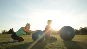 Adult women working out in park with fitness balls. Beautiful sporty senior females in sportswear training and stretching with fitness balls on green grass in stock video footage