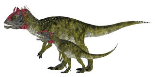 Adult and Young Cryolophosaurus royalty free illustration