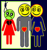 Adulterer. Humorous concept sign of husband cheating his wife, while she wants to kill herself for love Stock Image