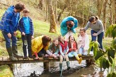 Adultes avec des enfants sur le pont au centre d'activité en plein air Image libre de droits