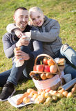 Adultes avec des pommes en nature Photo libre de droits