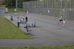 Adulti e bambini che giocano sul sportivo nel parco sulla sera di estate immagini stock