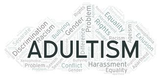 Adultism - type of discrimination - word cloud. Wordcloud made with text only vector illustration