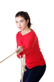 Adultl woman pulling a rope. Isolated on white Royalty Free Stock Photos