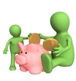 Adulto e bambino che abbassano moneta in banca piggy Immagine Stock