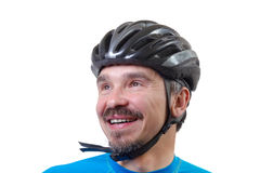 Adulto en casco de la bicicleta Foto de archivo