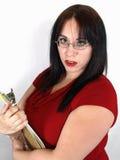 Adulto femenino con el sujetapapeles Foto de archivo libre de regalías