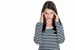Adulto femenino joven con dolor de cabeza Fotografía de archivo