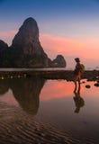 Adulto joven que aumenta los brazos al mar en las manos de la puesta del sol para arriba Imagenes de archivo