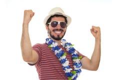 Adulto joven que celebra la llegada del carnaval Imagenes de archivo