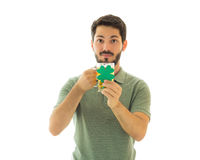 Adulto que sostiene un trébol de la taza y de cuatro hojas Fotografía de archivo