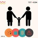 Adultos com uma criança - ícone da família Imagem de Stock