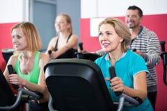 Adultos en gimnasio que se resuelven en la clase del grupo Imagen de archivo libre de regalías