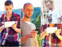 Adultos jovenes usando smarphones Fotos de archivo