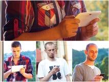 Adultos jovenes usando smarphones Foto de archivo