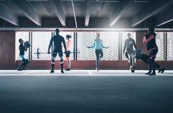 Adultos juguetones jovenes que entrenan en gimnasio Imagenes de archivo