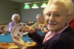 Adultos mayores que juegan el puente Fotos de archivo libres de regalías
