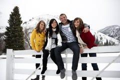 Adultos novos atrativos no inverno Fotos de Stock Royalty Free