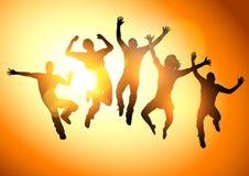 Adultos novos de salto Foto de Stock Royalty Free