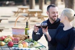 Adultos que beben el vino en naturaleza Imagen de archivo libre de regalías