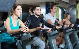 Adultos que montan las bicicletas inmóviles en club de fitness Fotografía de archivo