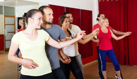 Adultos sonrientes que bailan bachata junto Imagen de archivo