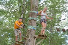 Adults on adventure course through trees stock image
