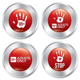 Adults only button set. Vector age limit stickers. Royalty Free Stock Photo