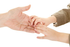 Adults and children's hands. In different gestures Stock Photography