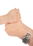 Adults and children's hands. In different gestures Royalty Free Stock Photo