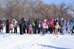 Adults and children at a sports festival `Ski Russia-2017`. Royalty Free Stock Photo