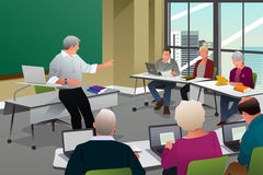Adults in a College Classroom. A vector illustration of adult in a college classroom with professor teaching Stock Images