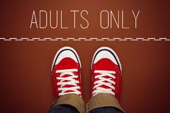 Adults Only Concept, Person Standing at Dividing Line Royalty Free Stock Images