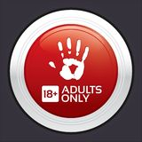 Adults only content button. Red round sticker. Royalty Free Stock Photo