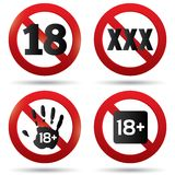 Adults only content button. XXX Vector sticker. Age limit stop sign. XXX adults only content icon. 18 years old. Prohibition symbol Stock Photos