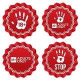 Adults only content labels. Age limit stickers. Royalty Free Stock Images
