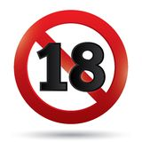 Adults only content sign. Vector XXX sticker. Stock Photography