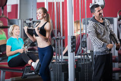 Adults of different age in gym together Royalty Free Stock Photos