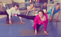 Adults doing pilates routine. Group of active adults doing pilates routine in a sport club Stock Photography