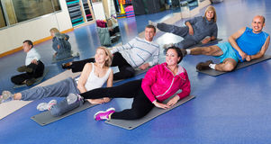 Adults doing pilates routine. Positive adults doing pilates routine in a sport club Royalty Free Stock Photos