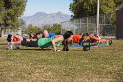 Adults Doing Push Ups Stock Photography