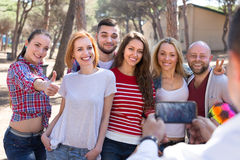 Adults doing selfie outdoors Stock Photography