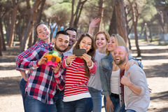 Adults doing selfie outdoors Stock Images