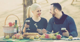 Adults drinking wine at table Royalty Free Stock Images