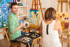 Adults enjoying art school Stock Photos