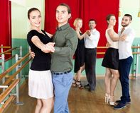 Adults  enjoying of classical dance in class Stock Images
