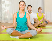 Adults at group yoga practice Royalty Free Stock Images