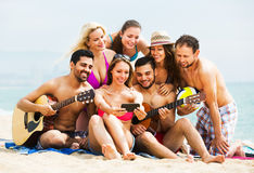 Adults with guitar at beach Stock Image