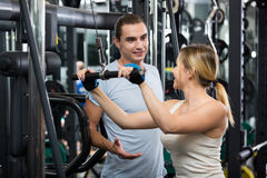 Adults having strength training Royalty Free Stock Photo