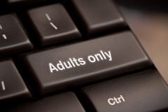 Adults only message on enter key Royalty Free Stock Images
